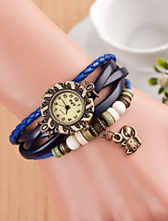 Hand Woven Women's Round Dial Mouse Leather  Band Quartz Analog  Braceiet Watch(Assorted Color)