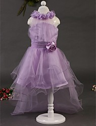 Flower Girl Dress Asymmetrical Satin/Tulle Ball Gown Sleeveless Dress