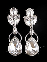 Luxurious Big Rhinestones Long Vintage Dangle Brides Bridesmaids Wedding Party Princess Leaf Earring