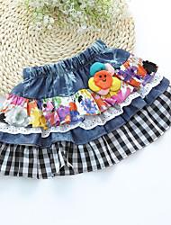 Girl's Sweet Waist Smiling Faces of Children Decor Splice Mesh Check Skirt