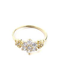 Women's Brass Fashion three flower CZ Ring(More Colors)