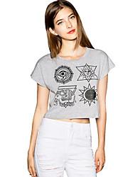 Camisetas ( Algodón Compuesto )- Sexy/Casual/Impresión Redondo Manga Corta para Mujer