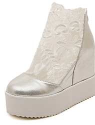 Women's Shoes Lace Wedge Heel Wedges/Round Toe Pumps/Heels Dress/Casual White/Silver