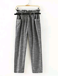 Women's Casual Middle Waist Haroun Pants with Belt