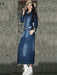 Women's Blue Denim Dress , Vintage/Casual/Cute/Party Long Sleeve