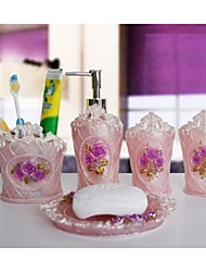 The Palace Rose Pattern Bathroom Ware 5 Sets/Pink