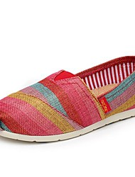 Women's Shoes Canvas Spring / Fall Round Toe Casual Flat Heel Braided Strap / Slip-on Blue / Red