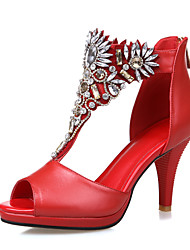 Sandales/Pompes / Talons ( Multi-couleur Chaussures à talons/Bout ouvert/Spartiates/Bout rond - Talon aiguille - Cuir/Poil de veau - pour