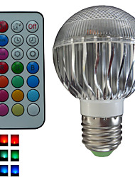 1 pcs SchöneColors® E26/E27 8W 3X3W LED Color-Changing Dimmable/Remote-Controlled/Decorative RGB Globe Bulbs AC 85-265 V