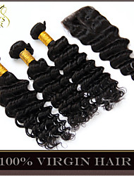 4Pcs Lot Mongolian Deep Wave Curly Virgin Hair With Closure 3Bundles Unprocessed Remy Human Hair Wefts With Lace Closure