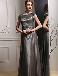 Formal Evening Dress Sheath/Column Jewel Floor-length Satin Dress