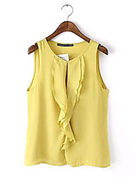 Women's Solid Blue/White/Yellow T-shirt , Round Neck Sleeveless
