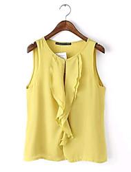 Ronde hals - Chiffon Vrouwen - T-shirt - Mouwloos
