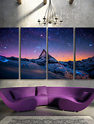 E-HOME® Stretched LED Canvas Print Art The Snow Capped Mountains LED Flashing Optical Fiber Print Set of 4