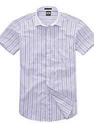 U&Shark Casual&Fashion Men's  Short Sleeve   White Collar Shirt with  Green and   Blue Stripes  /DXBL14