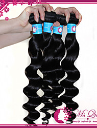 "Unprocessed Loose Wavy Peruvian Hair Extensions 1B Black Human Hair Weave Mixed Lengths 4pcs/lot 12""-30"""