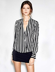 Women's Striped Black Shirt(chiffon)