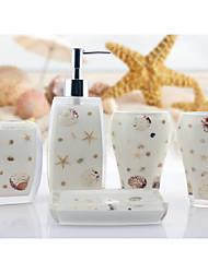 The Sea Shells Pattern Bathroom Ware 5 Sets/White