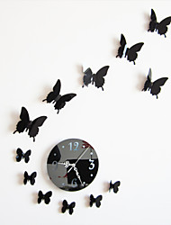Home Decor Diy Mirror Acrylic Pvc Butterfly Wall Clock