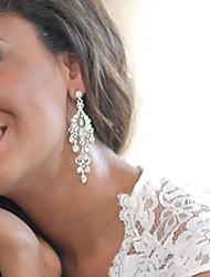 Women's Silver Drop Earrings With Rhinestone Long Big Earring For Birde Wedding
