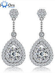 Wedding Charming Cubic Zirconia Earrings Elegant Jewelry rhodium plated Lady Drop Earrings For Women