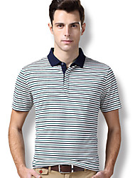 The company short sleeved T-Shirt New Men's silk blend of business and leisure fashion stripe T-shirt short T