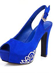 Zapatos de mujer - Tacón Robusto - Punta Abierta / Plataforma - Sandalias - Oficina y Trabajo / Vestido - Ante - Negro / Azul