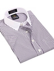 U&Shark Casual&Fashion Men's  Short Sleeve   White Collar Shirt with  Violet and White Stripes  /DXBL09