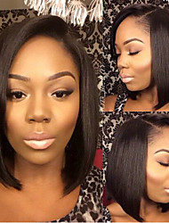 In Stock 12-28inch Bob Straight Peruvian Human Hair Natural Color Lace Front Wig