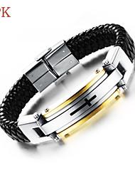 OPK®Cool Rock Character 18 K Gold Cross Titanium Steel Magnetic Clasp Double Leather Woven Men's Bracelet