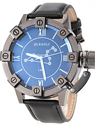 Men's Leo Pattern Black Leather Band Quartz Wrist Watch