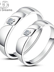 Poetry Dreams Sterling Silver Solitaire Adjustable Rings Couple Rings Set