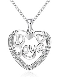 Cremation jewelry 925 sterling silver Hollow Heart with Love Pendant Necklace for Women