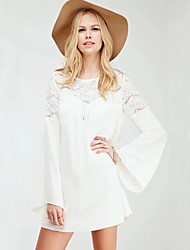 Women's Lace+Chiffon Flare Sleeve White Dress