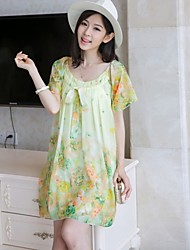 Maternity Plus Size M-XL Loose Fresh Floral Chiffon Dress