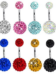Fashion Stainless Steel Full Crystal Navel Belly Button Ring Dancing Body Jewelry Piercing(Random Color)