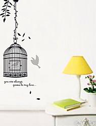 adesivos de parede decalques da parede, parede de pvc gaiola de pássaro preto adesivos