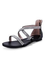 Women's Shoes Leather Flat Heel Slingback Sandals Dress/Casual Black/White