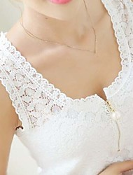 Women's Lace Plus White Black SleeveLess Shirt