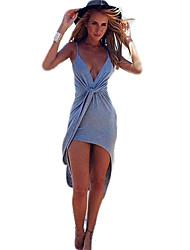 Damen Kleid Asymmetrisch Baumwolle Ärmellos Tiefes V