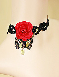 Ladies' Red Rose Black Lace Necklace