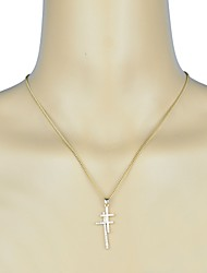 Stone Set Double Cross Pendant Necklace