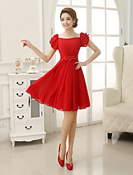 Short / Mini Chiffon Bridesmaid Dress - Sheath / Column Square with Appliques / Pleats