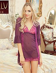 Для женщин Халат / Ультра-секси / Костюм Ночное белье Однотонный Ice Silk (искусственное волокно) Белый / Фиолетовый / Красный / Черный
