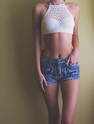 Women's Knitted Crochet Halter Neck Crop Top