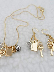 Delicate Key Shape Set Drill Necklace Set(with Earrings)