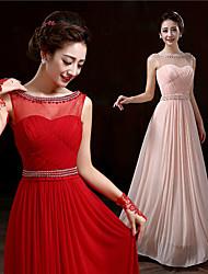 Prom/Date Dress Sheath/Column Bateau Floor-length Chiffon Dress