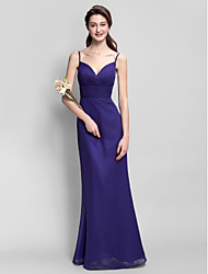 Floor-length Chiffon Bridesmaid Dress - Regency Sheath/Column Spaghetti Straps