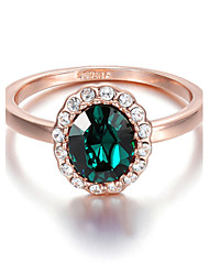 T&C Women's Pretty 18K Rose Gold Plated Green Crystal Cubic Zirconia Classic Romantic Party Rings