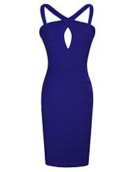 WAVE Women's Sexy Halter Cutwork Bodycon Dress